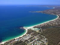Aerial Huskisson Beach Tourist Park